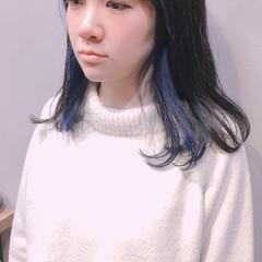 インナーブルー ブルーアッシュ ブルーラベンダー ボブ ヘアスタイルや髪型の写真・画像