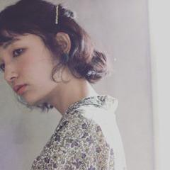 ハーフアップ パーマ ガーリー ボブ ヘアスタイルや髪型の写真・画像