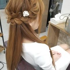 ストレート ロング 編み込み ヘアセット ヘアスタイルや髪型の写真・画像