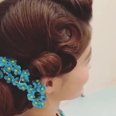 結婚式 ミディアム ヘアアレンジ フェミニン ヘアスタイルや髪型の写真・画像