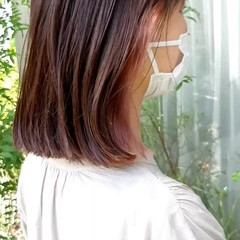 インナーカラー フェミニン 切りっぱなしボブ ミニボブ ヘアスタイルや髪型の写真・画像