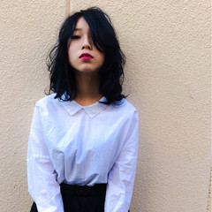 ダブルカラー ブルー ストリート 暗髪 ヘアスタイルや髪型の写真・画像