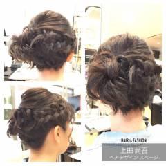サイドアップ ボブ 編み込み 大人かわいい ヘアスタイルや髪型の写真・画像