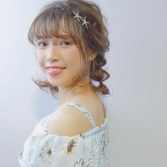 ガーリー ミディアム アウトドア 簡単ヘアアレンジ ヘアスタイルや髪型の写真・画像