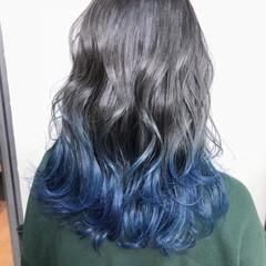 セミロング ネイビー ガーリー 暗髪 ヘアスタイルや髪型の写真・画像