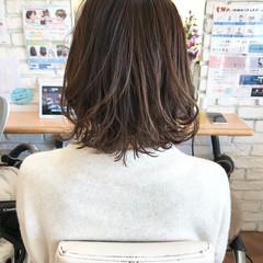 透明感カラー ボブ 3Dハイライト 外ハネボブ ヘアスタイルや髪型の写真・画像