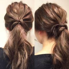ショート ポニーテール ヘアアレンジ ローポニーテール ヘアスタイルや髪型の写真・画像
