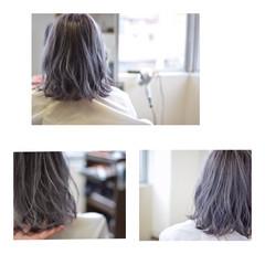 ホワイトアッシュ グラデーションカラー ストリート ボブ ヘアスタイルや髪型の写真・画像