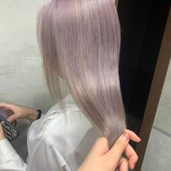 ロング ハイトーンカラー ラベンダーカラー ラベンダー ヘアスタイルや髪型の写真・画像