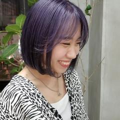 ラベンダーカラー ボブ 韓国ヘア ストリート ヘアスタイルや髪型の写真・画像