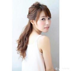 フェミニン ゆるふわ ハーフアップ 大人かわいい ヘアスタイルや髪型の写真・画像