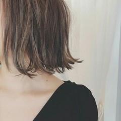 グレージュ モード ボブ 夏 ヘアスタイルや髪型の写真・画像
