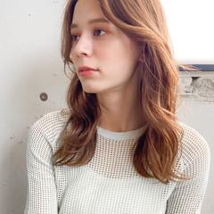 デジタルパーマ ベージュ パーマ ミディアム ヘアスタイルや髪型の写真・画像