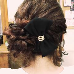 ヘアアレンジ セミロング 編み込み 結婚式 ヘアスタイルや髪型の写真・画像