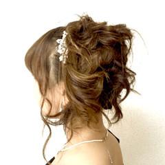 結婚式 セミロング ハイライト ヘアアレンジ ヘアスタイルや髪型の写真・画像