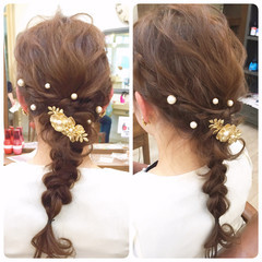 ヘアアレンジ 結婚式 波ウェーブ パーティ ヘアスタイルや髪型の写真・画像