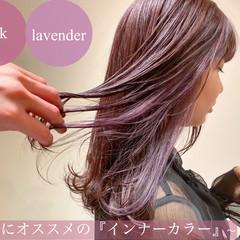 ピンクラベンダー ラベンダーピンク 透明感カラー ブリーチなし ヘアスタイルや髪型の写真・画像