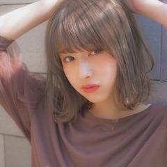 大人かわいい 前髪 パーマ グレージュ ヘアスタイルや髪型の写真・画像