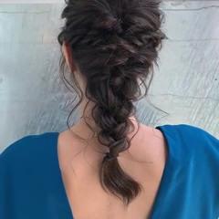 編み込み 編みおろし 上品 フェミニン ヘアスタイルや髪型の写真・画像