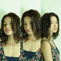 ボブ パーマ 暗髪 アッシュ ヘアスタイルや髪型の写真・画像