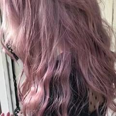 ピンクアッシュ ロング ピンク モード ヘアスタイルや髪型の写真・画像