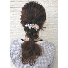 結婚式 ロング ポニーテール ヘアアレンジ ヘアスタイルや髪型の写真・画像