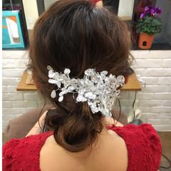ゆるふわ ミディアム シニヨン きれいめ ヘアスタイルや髪型の写真・画像