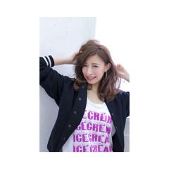 イルミナカラー ゆるふわ ピンク ストリート ヘアスタイルや髪型の写真・画像