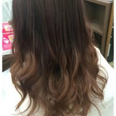 ゆるふわ グラデーションカラー ガーリー セミロング ヘアスタイルや髪型の写真・画像