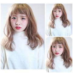 ゆるふわ ナチュラル セミロング フェミニン ヘアスタイルや髪型の写真・画像