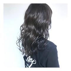 透明感カラー ナチュラル グレージュ セミロング ヘアスタイルや髪型の写真・画像