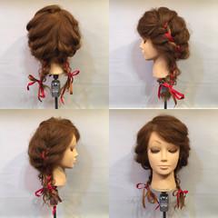 謝恩会 セミロング 編み込み ヘアアレンジ ヘアスタイルや髪型の写真・画像