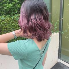 ミディアム ラベンダーピンク 透明感カラー グラデーションカラー ヘアスタイルや髪型の写真・画像