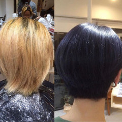 モード ボブ ブルー ブルーブラック ヘアスタイルや髪型の写真・画像