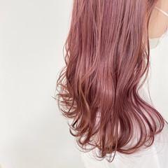 ピンク ベリーピンク ナチュラル ロング ヘアスタイルや髪型の写真・画像