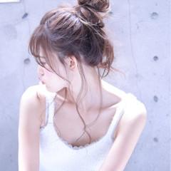 ロング お団子 ショート フェミニン ヘアスタイルや髪型の写真・画像