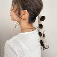 ヘアアレンジ セルフヘアアレンジ 編みおろしヘア セミロング ヘアスタイルや髪型の写真・画像