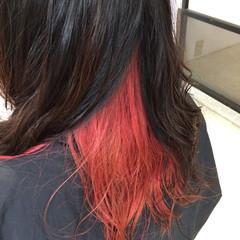 ピンク モード セミロング 個性的 ヘアスタイルや髪型の写真・画像
