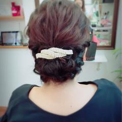 波ウェーブ 結婚式 編み込み セミロング ヘアスタイルや髪型の写真・画像