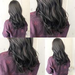 ネイビーブルー ロング ダークグレー ナチュラル ヘアスタイルや髪型の写真・画像
