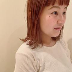 切りっぱなしボブ 外ハネ 外ハネボブ オレンジカラー ヘアスタイルや髪型の写真・画像