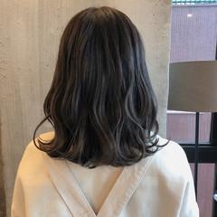 ミディアム 暗髪 ロブ ナチュラル ヘアスタイルや髪型の写真・画像