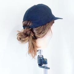 キャップ ポニーテール デート ヘアアレンジ ヘアスタイルや髪型の写真・画像