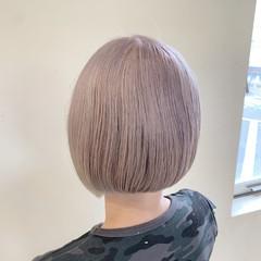 ベージュ ボブ フェミニン うる艶カラー ヘアスタイルや髪型の写真・画像