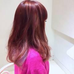 モテ髪 ピンク ストリート レッド ヘアスタイルや髪型の写真・画像