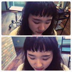 フリンジバング ナチュラル オン眉 セミロング ヘアスタイルや髪型の写真・画像