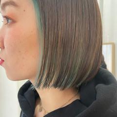 モード インナーカラー ミニボブ ボブ ヘアスタイルや髪型の写真・画像