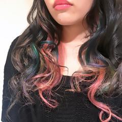 ロング ダブルカラー ブリーチ カラフルカラー ヘアスタイルや髪型の写真・画像