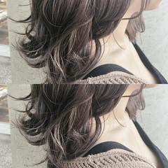 透明感カラー グレー セピアカラー ミディアム ヘアスタイルや髪型の写真・画像