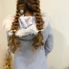編みおろしツイン ヘアアレンジ ロング 編み込みヘア ヘアスタイルや髪型の写真・画像